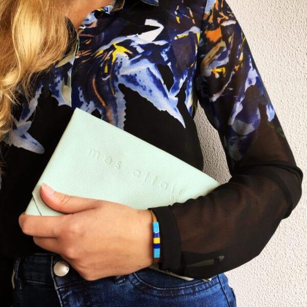 Leather clutch mint MES AFFAIRES