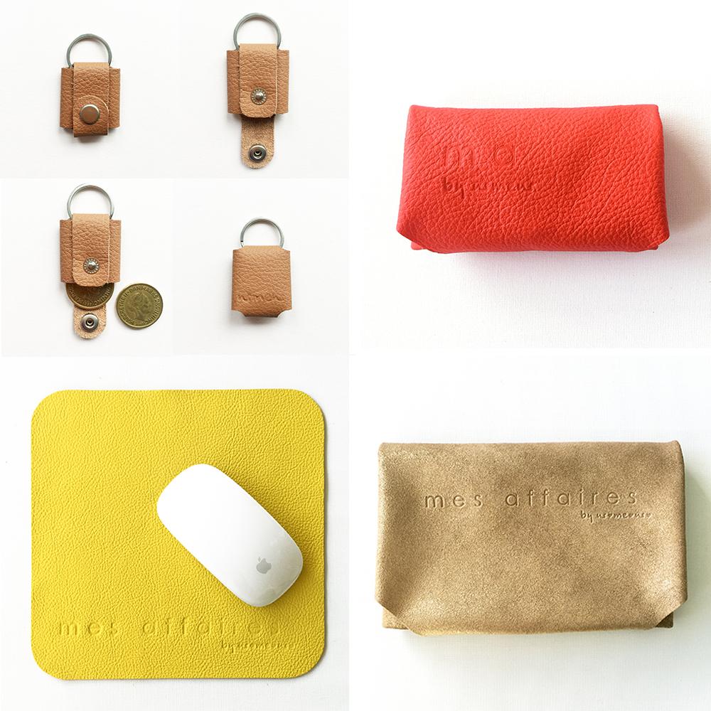 MES AFFAIRES læder taske pung musemåtte