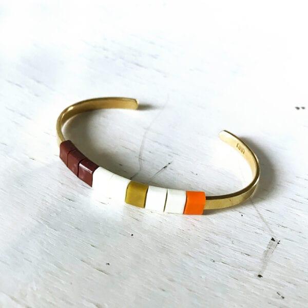 BAEKKE armbånd bordeux hvid karry